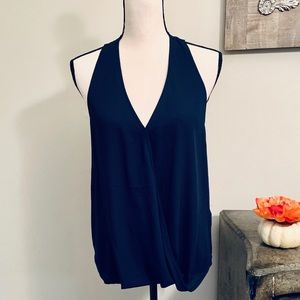 Navy blue sleeveless top with racer back detail, M